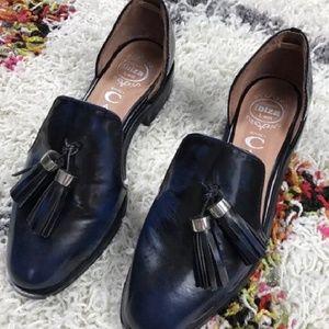 Jeffrey Campbell D'Orsay blue black leather flats
